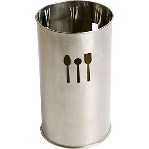 Cutlery Utensil Canister Stainless Steel Silver Kitchen Storage Jar Pot Holder