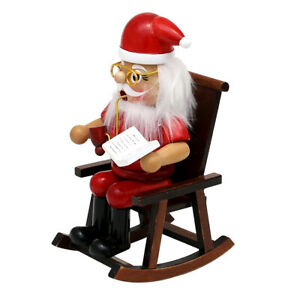"""Wooden Smoking figure """"Santa Claus"""" in the rocking chair 9,5 x 11 x 17 cm"""