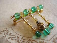 Vintage Brooch Lapel Hat Pin Artisan Glass Green Beads Dangle gold tone metal