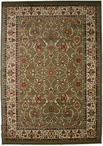 5X8 Area Rug New Border Floral Sage Green Beige Black Traditional