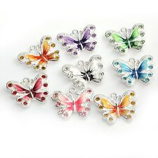 5/20/50X Silver Crystal Enamel Butterfly Pendant  Charm DIY Making Jewelry Acces