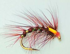 STUNNING QUALITY!!!!! 6 x WIGGLY WORM TROUT FISHING FLIES SIZE 10