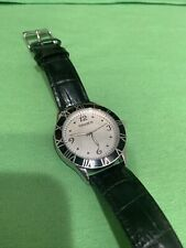 men's Gruen analog watch with black leather band and Japan movement