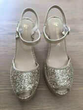 Macarena gold heeled espadrilles size 39 NEW