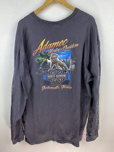 Harley Davidson Adamec Florida USA Mens T Shirt Size 2XL Long Sleeve Grey