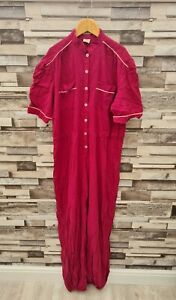 WOMENS PINK/PURPLE VTG 90'S LIGHTWEIGHT ALL IN ONE BUTTON UP OVERAL JUMPSUIT 14