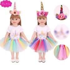 18 inch Girls doll clothes Unicorn costume lace skirt with shoes American