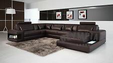 Modern Large LEATHER SOFA Corner Suite NEW RRP £5499 Chocolate Brown Sandbeige