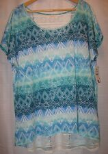 Bobbie Brooks Lace Design Back Short Sleeve Teal-Green-Blue-White Blouse Size 2X