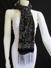 Women Scarf Black Multi Colors Big Flowers Faux Velvet European Stylish Shades