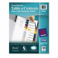 """Avery Ready Index Translucent Table Of Content Dividers - 10 Tab[s]/set - 8.50"""""""