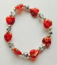 Beautiful Ruby Red Millefiore Heart & Silver Twinkle Crystal  Bracelet