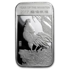 Lingot Coq 1 Once argent pur 999 / 1 Oz Lunar ROOSTER 2017 Fine Silver 999 Bar