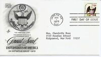 US Scott #1596, First Day Cover 12/1/75 Juneau Single Great Seal