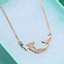 Mermaid Necklace Pendants 18K Rose Gold Plated Gifts Jewelry Beautiful Bijoux