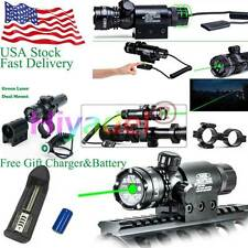 Hunting Tactical Green Laser Sight Rifle Gun Scope Rail +Remote Switch Charger D