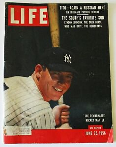 """Life Magazine June 25th 1956  """" The Remarkable Mickey Mantle """"  Cover !"""