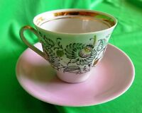 Vintage Latvia USSR Soviet Porcelain Riga factory RPR coffee cup & saucer gold t