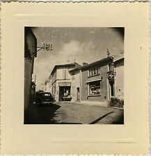 PHOTO ANCIENNE - VINTAGE SNAPSHOT - RUE COMMERCE PHARMACIE VOITURE - STREET CAR