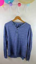 Grayers Long Sleeve Henley Slub Jersey Shirt Chambray Blue L Todd Knit