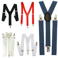 25mm Wide Mens Classic Braces Elastic Suspenders Heavy Duty Metal Clip Trouser