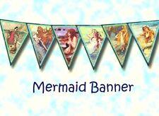 Vintage Mermaid DIY Bunting Banner Flags Prop - Party Birthday 210gsm Cardstock