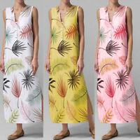 ZANZEA Womens Summer Floral Beach Sun Dress Sleeveless Long Vest Tank Dresses