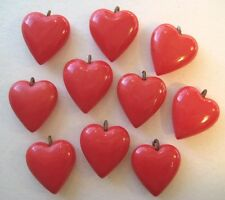 VINTAGE Puffy Celluloid Cherry Red HEART Charm Lot Sweetheart Valentines Day