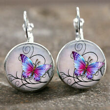 Vintage Celestial Butterfly Glass Dome Cabochon Lever Back Earring Jewelry Decor