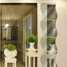 Pack of 1 X 3D Wave Modern Room Wall Mirror Sticker Art Vinyl Mural Decor Decal