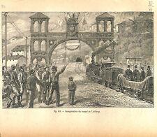 Vorarlberg et Tyrol Inauguration du tunnel de l'Arlberg Autriche GRAVURE 1884