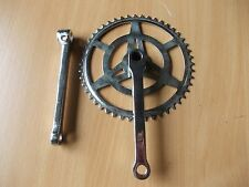 Cycle Fixie Vintage Single Cottered Chainset Chrome 46T x 1/2 x 1/8 + LH Crank