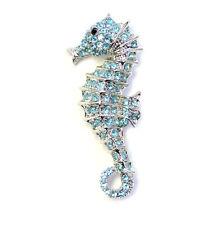 Seahorse Pin Brooch Gorgeous Aqua Light Blue Crystal