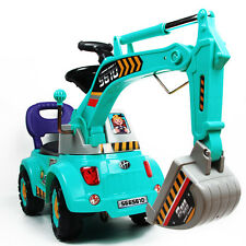 CHILDRENS BOYS BLUE JCB DIGGER PUSH ALONG RIDE ON TOY WITH LIGHTS & SOUNDS 17082