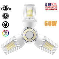 3Leaf White LED Deformable Garage 60W Lamp Light Warehouse E26 Medium Base 5000K