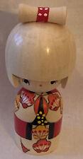 "Japanese Kokeshi Wooden Doll 5.5""H Girl Sosaku Sakura Kimono Japan Made Boxed"