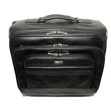 Solo Classic Black Leather Laptop Bag Brief Case Rolling Bag D964-4