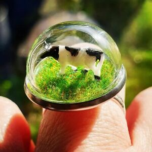 Unique DOWN ON THE FARM RING adjustable COW dairy GRASS dome COOL diorama MINI