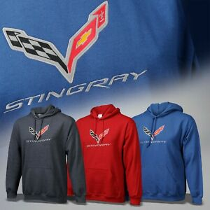 2014-2019 Corvette C7 Hooded Sweatshirt with Logo & Stingray Script 637703