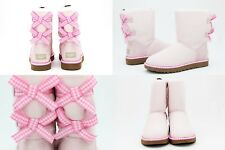UGG BAILEY BOW GINGHAM SEASHELL PINK SUEDE SHEEPSKIN BOOTS SIZE 9 US SUPER RARE