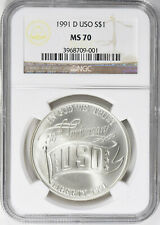 1991-D USO Commemorative Dollar - NGC MS-70 - Mint State 70