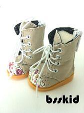"""BJD Yo-SD 1/6 Dollfie 13"""" Effner 12"""" Kish Doll Shoes Khaki Floral Boot"""