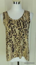 Mine Anthropologie M Animal Print Button Down Cami Sleeveless Shell Hi Lo Top