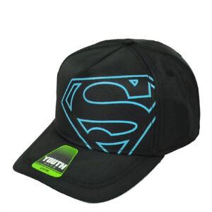 DC Comics Superman Youth Hat Cap Snapback Black Off Center Logo Super Hero