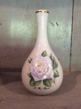 Vintage Revol France Small White Vase ~ Porcelain ~ La Fleury Blanche White Rose