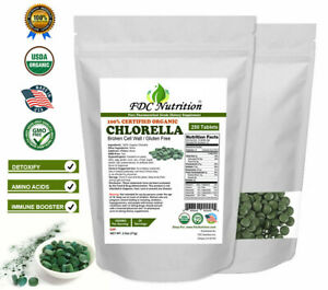 Organic Chlorella Tablets Broken Cell 3000mg Per Serving, 250 Tablets