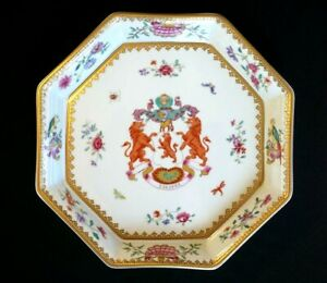 Beautiful  Mottahedeh Arms Of Dundas Octagonal Tray