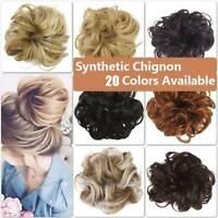 Real Natural Curly Messy Bun Hair Piece Scrunchie Hair Extensions Chignon Hair v