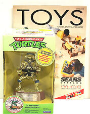 Vintage Teenage Mutant Ninja Turtle  Gold Leonardo 5th Anniversary NIB+Catalog