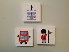 SET OF 3 HANDMADE LONDON SOLDIER CANVASES blue bus nursery boy vintage children